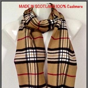 100% Cashmere Long Plaid Scarf MADE IN SCOTLAND NW